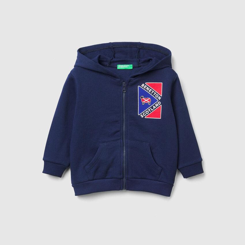 Sweater mit Zip und Print