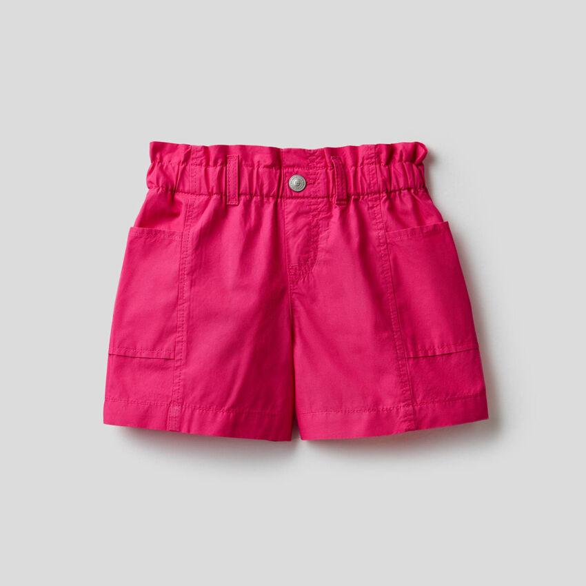 Paperbag-Shorts aus 100% Baumwolle