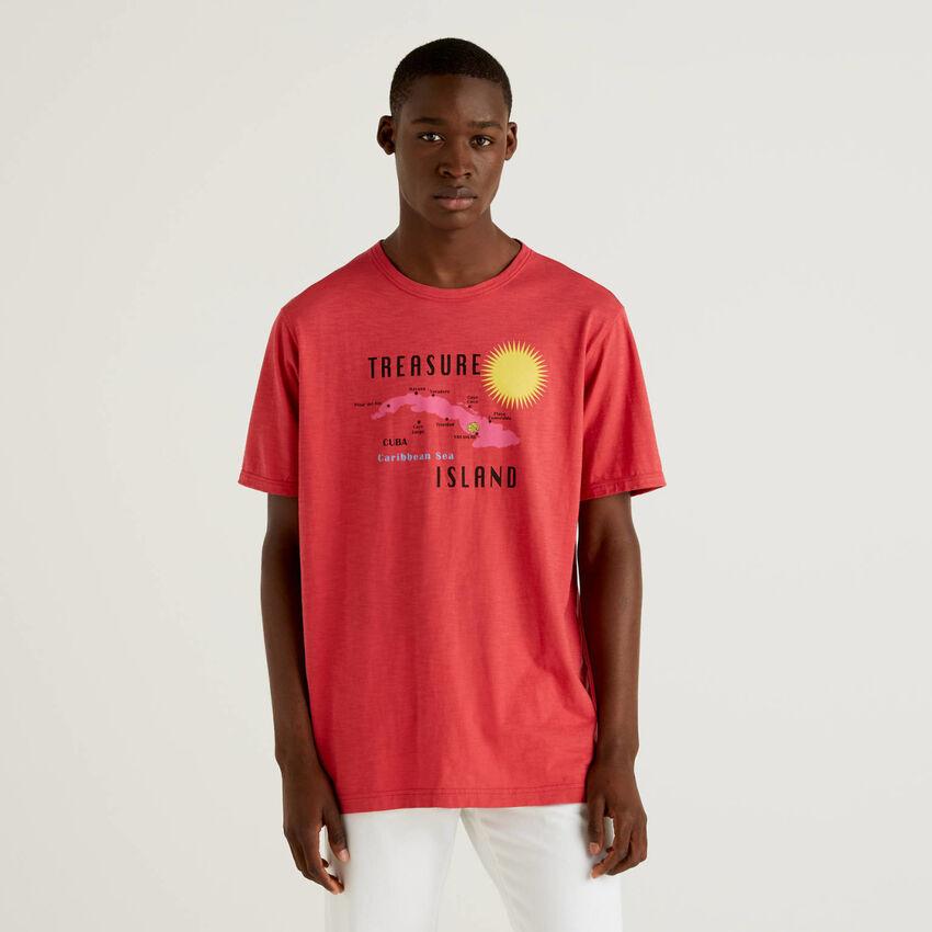 Rotes T-Shirt aus 100% Baumwolle mit Print