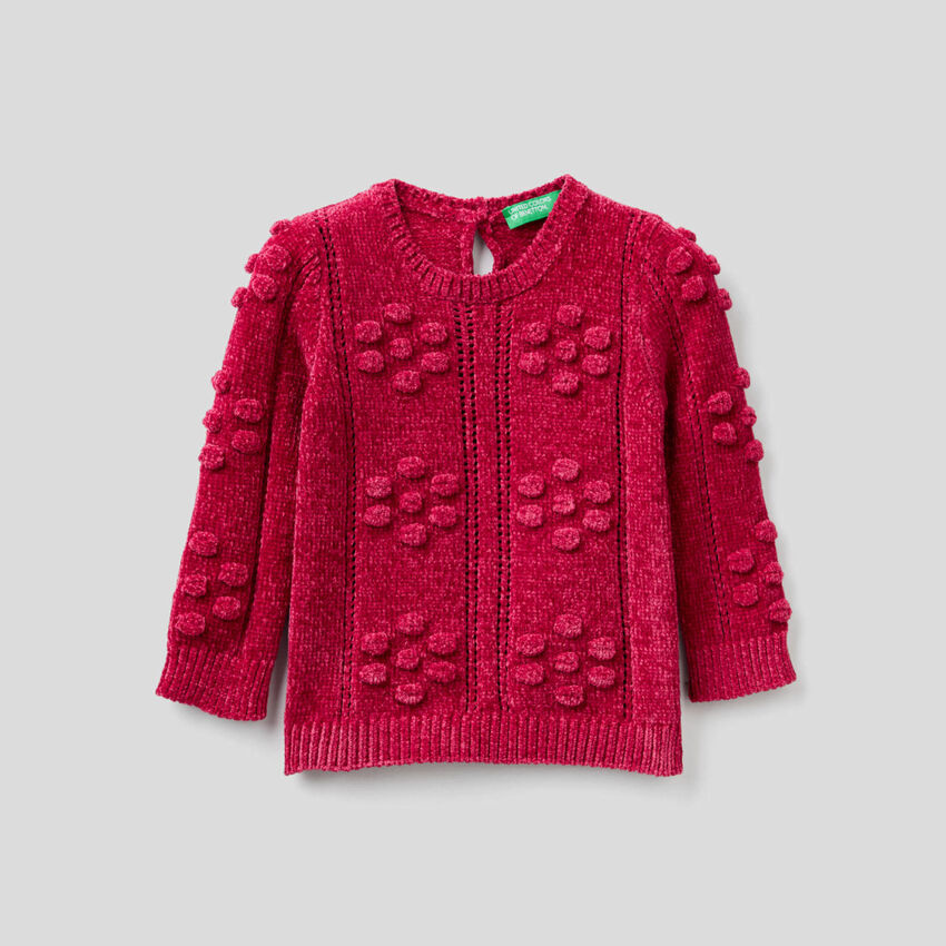 Pullover aus Chenille in Zyklame