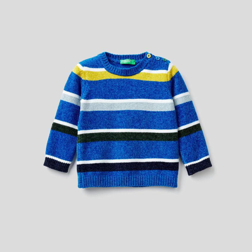 Pullover aus Chenille mit Streifen