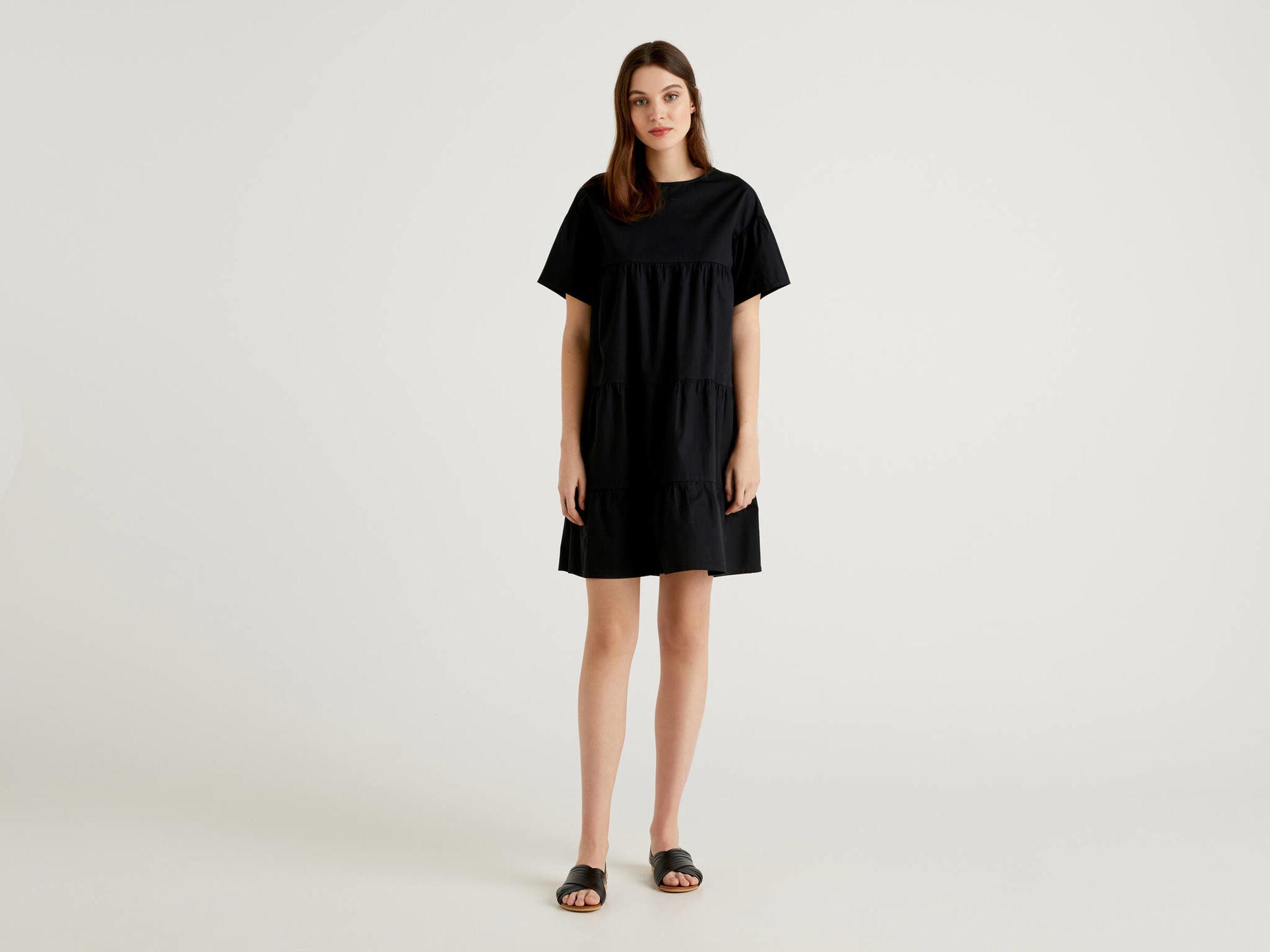 Weites Kleid Aus 100 Baumwolle Mit Ruschen