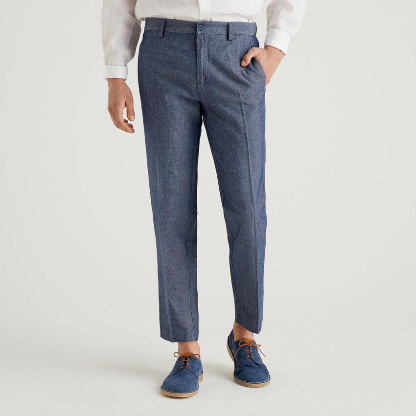 Hose aus Denim in einer Mischung aus Baumwolle und Leinen