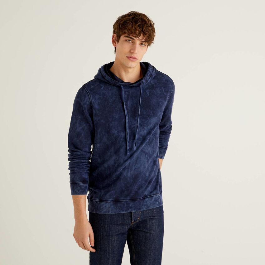 Sweatshirt in 100% Baumwolle mit Batikmuster