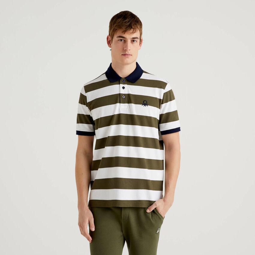 Polo aus stretchiger Baumwolle mit Streifen