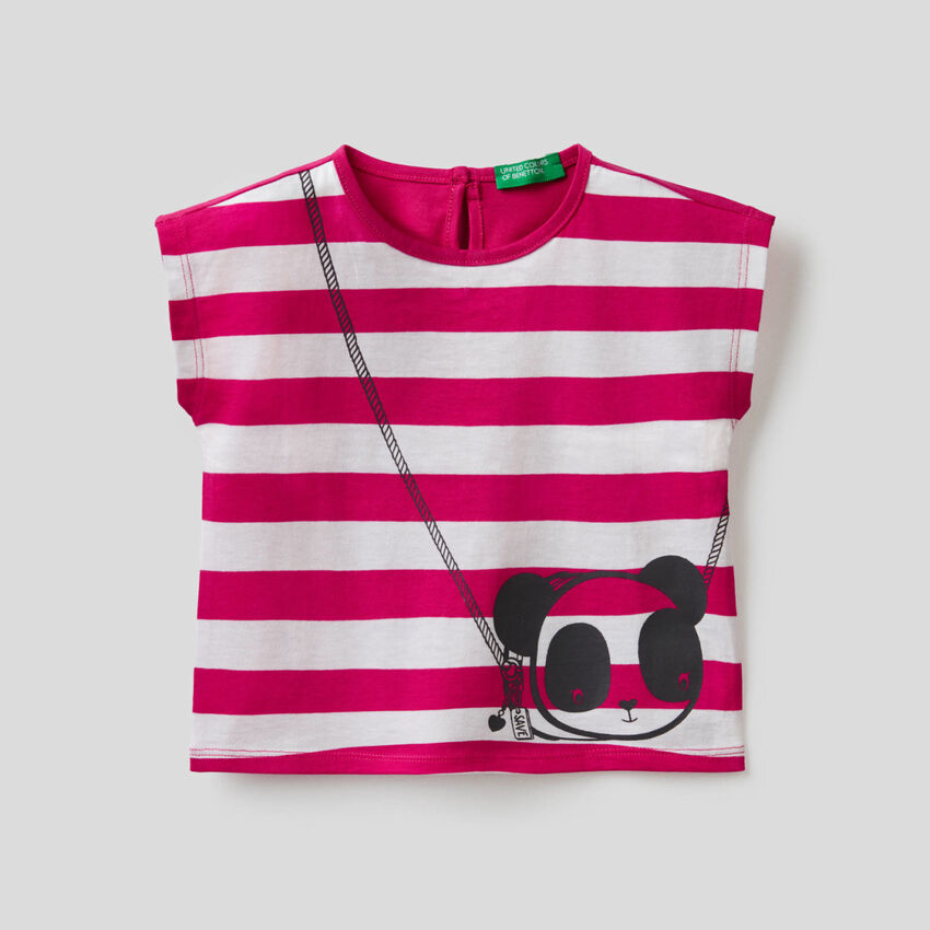 Gestreiftes T-Shirt mit Print