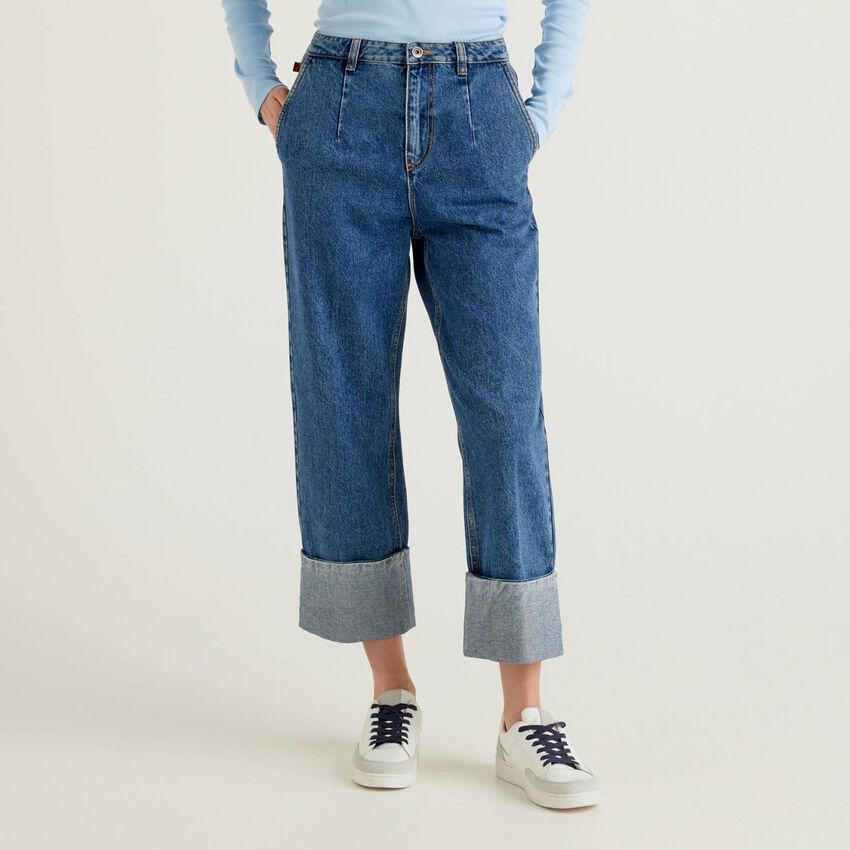 Hose aus 100% Baumwolle mit Maxi-Saumaufschlag