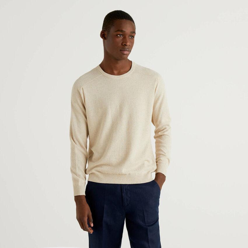 Pullover in einer Mischung aus Baumwolle und Leinen