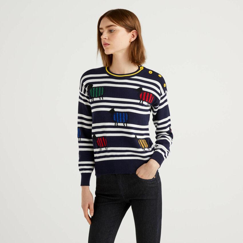 Pullover aus 100% Baumwolle mit Streifen und Intarsienarbeiten