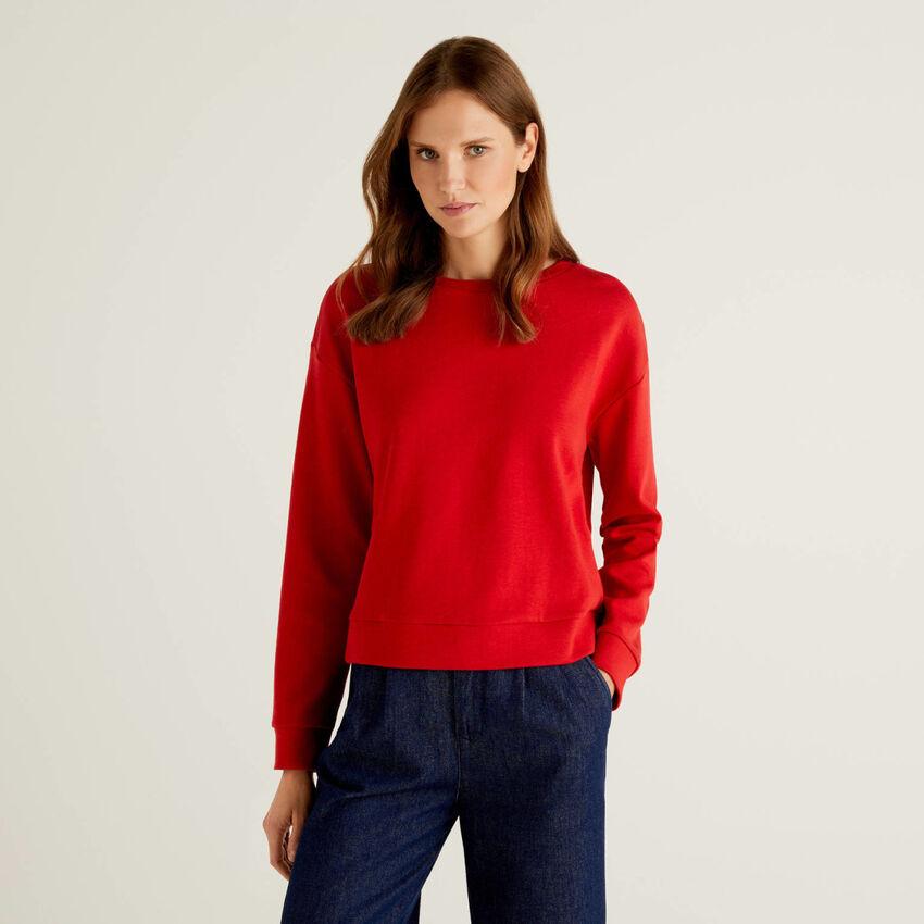 Einfarbiges Sweatshirt aus einer Baumwollmischung