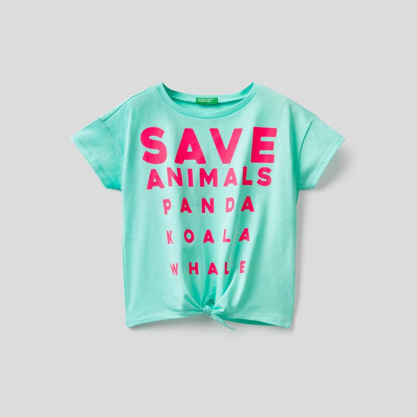 T-Shirt mit Schleife am Unterrand