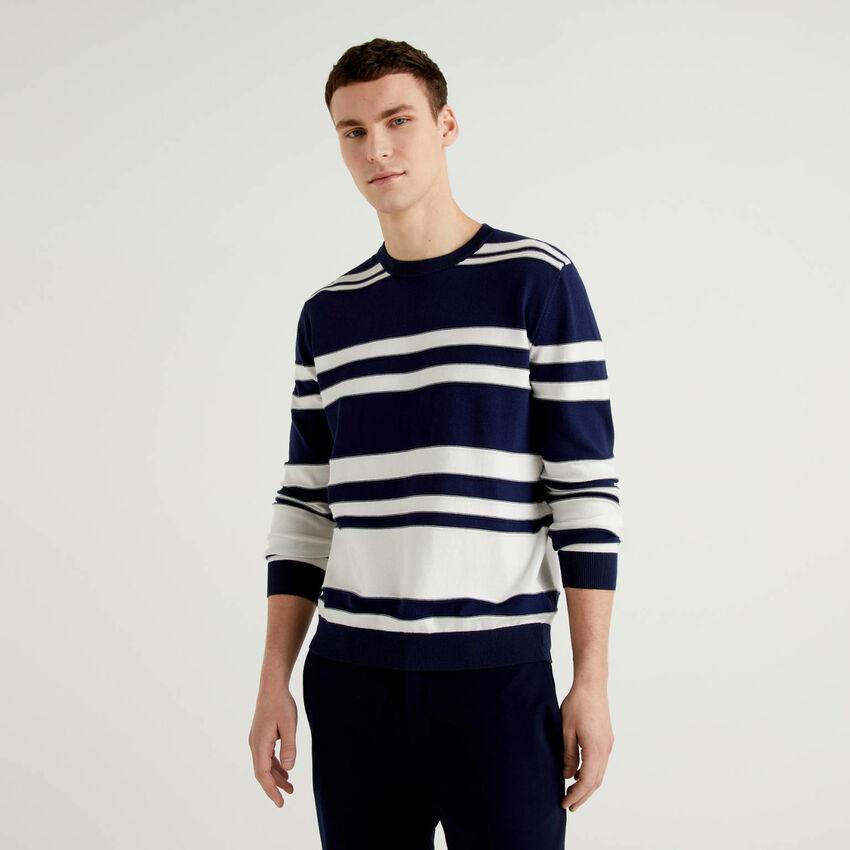 Gestreifter Pullover aus reiner Baumwolle