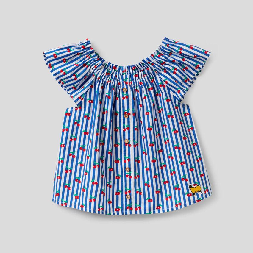 Bluse aus 100% Baumwolle mit Print