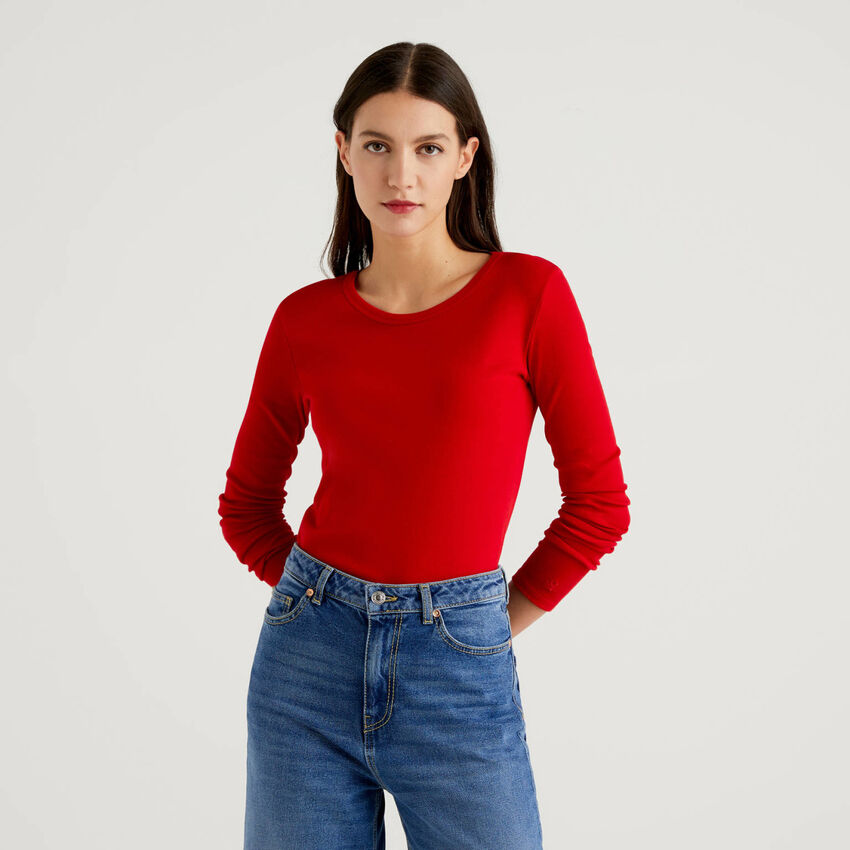 T-Shirt aus reiner Baumwolle mit langen Ärmeln