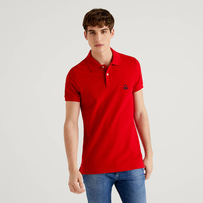 Rotes Slim-Fit-Polo