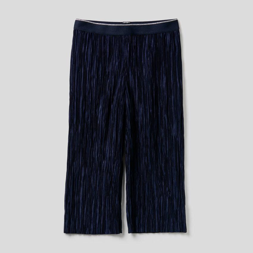 Lange, plissettierte Hose