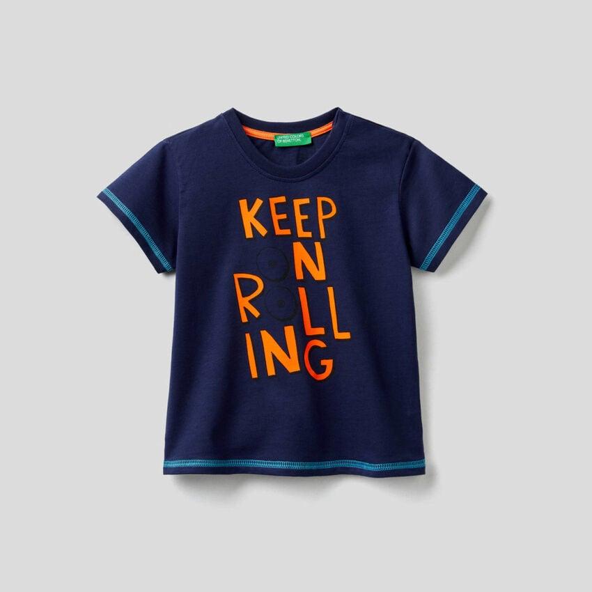 T-Shirt aus Baumwolle mit Print Skateboard
