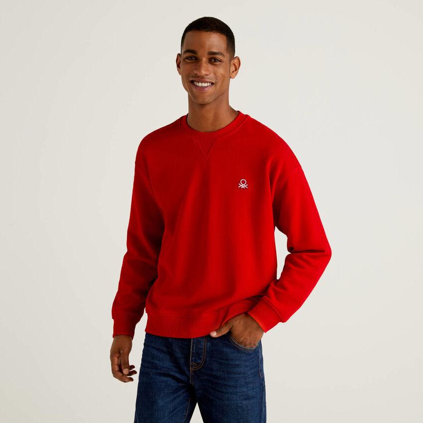 Sweatshirt in 100% Baumwolle mit aufgenähtem Logo