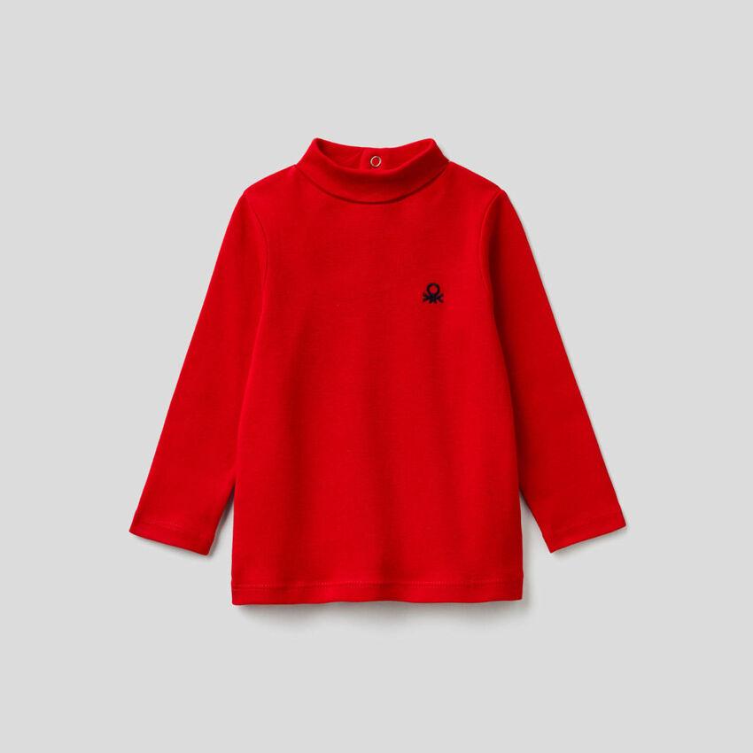 T-Shirt mit langen Ärmeln und Stehkragen