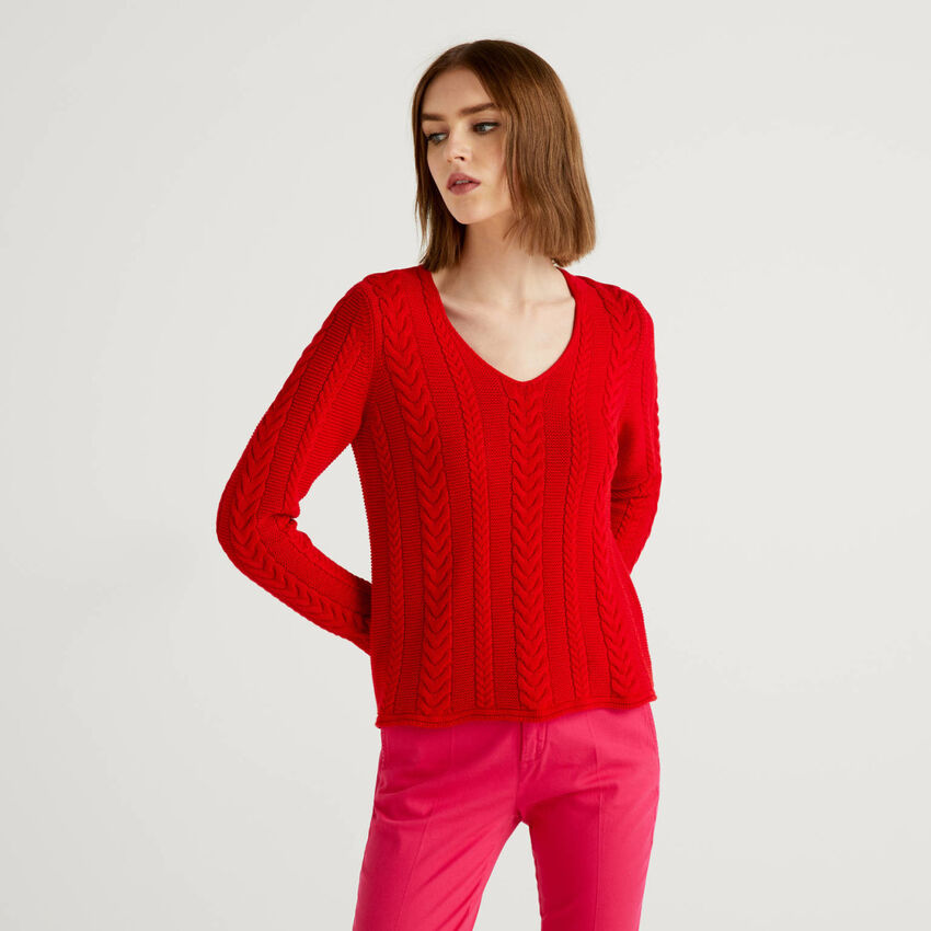Pullover aus reiner Baumwolle mit Flechtmuster