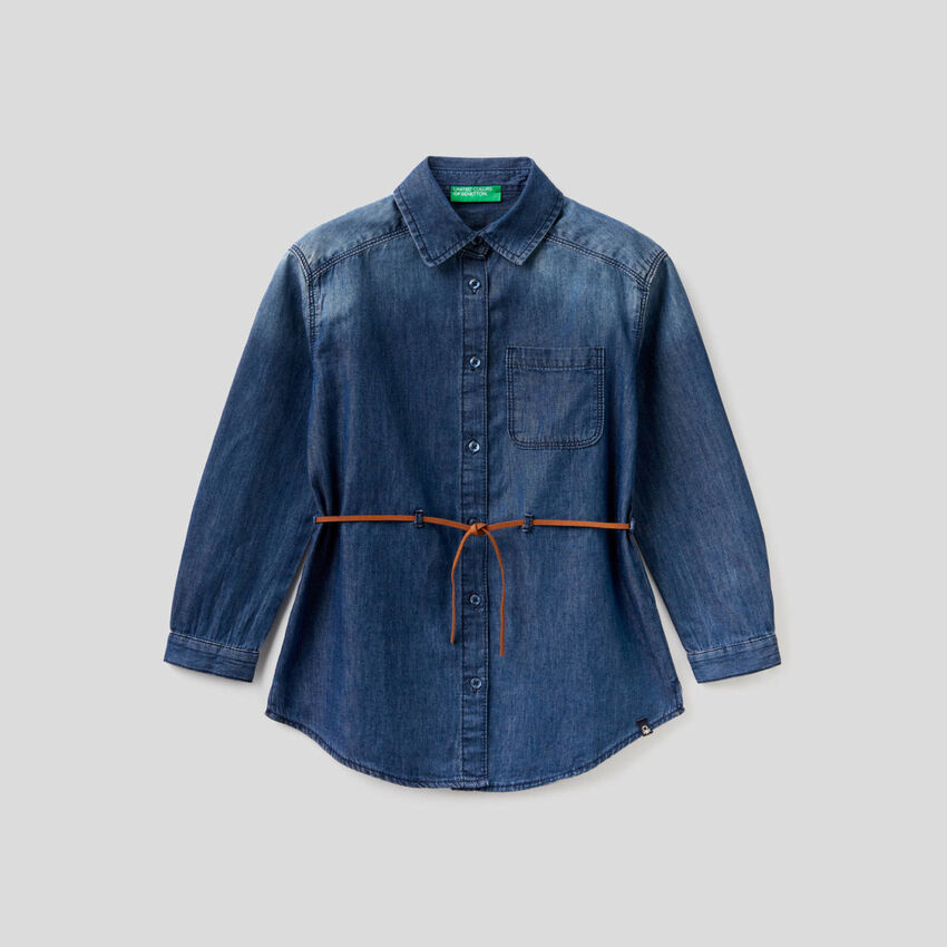 Jeansbluse in 100% Baumwolle
