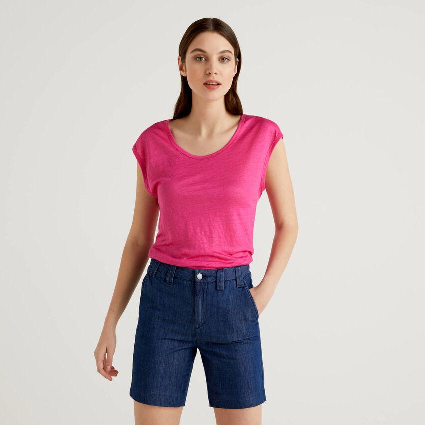 T-Shirt aus 100% Leinen mit kurzen Ärmeln
