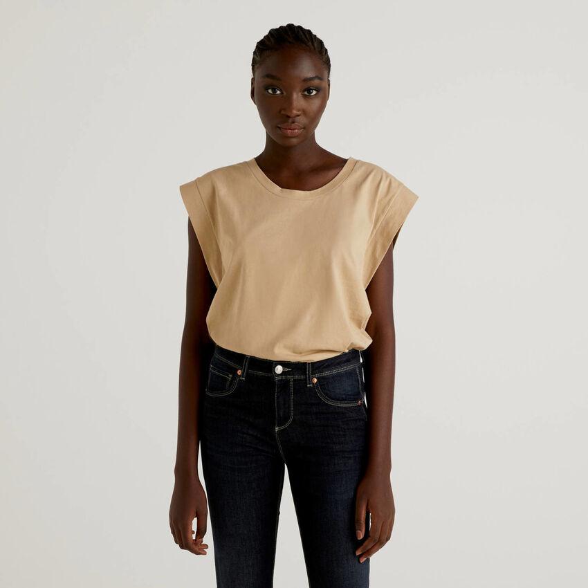T-Shirt aus Baumwolle mit Flügelärmeln