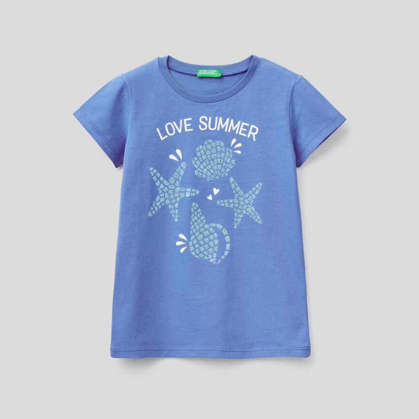 T-Shirt mit Glitterprint
