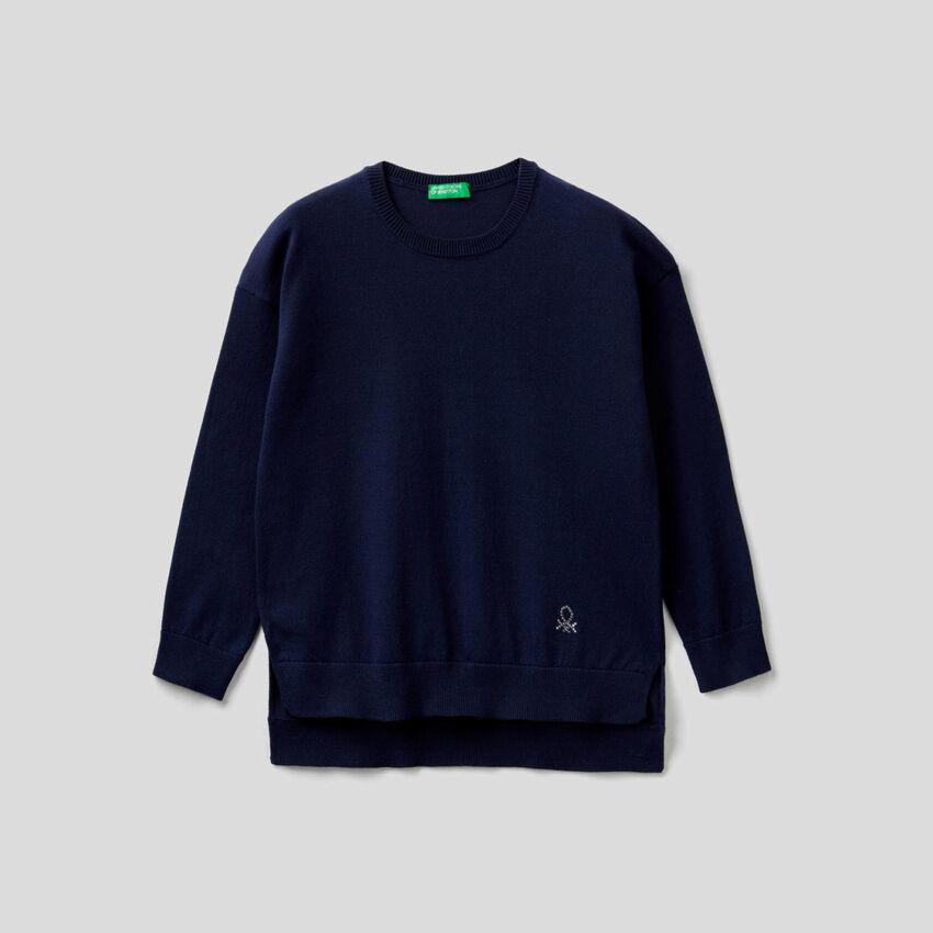Pullover mit Logo aus Strass