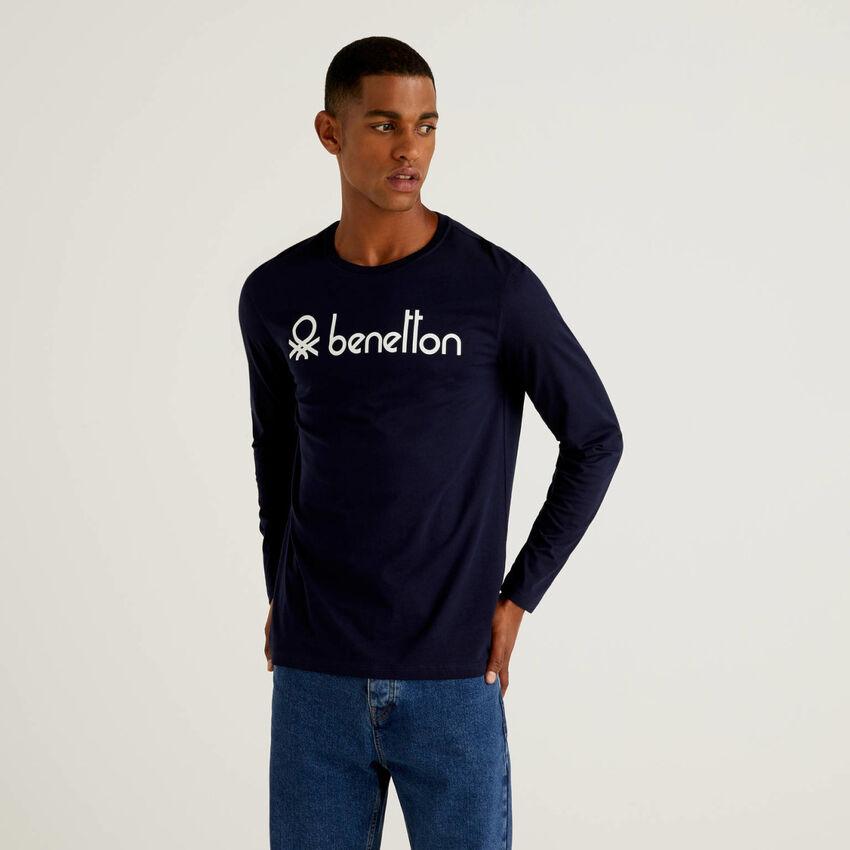 T-Shirt mit langen Ärmeln und aufgedrucktem Logo