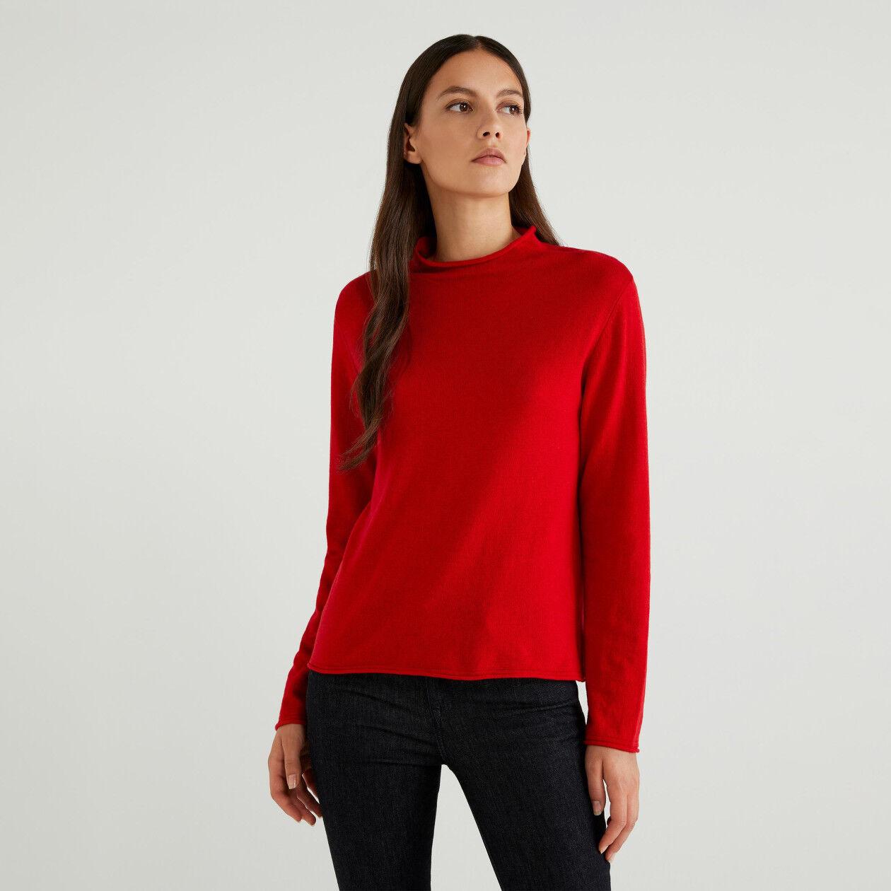 Pullover aus Cashmere Blend mit Stehkragen