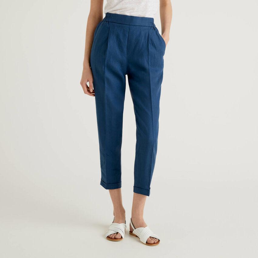 Cropped-Hose aus 100% Leinen