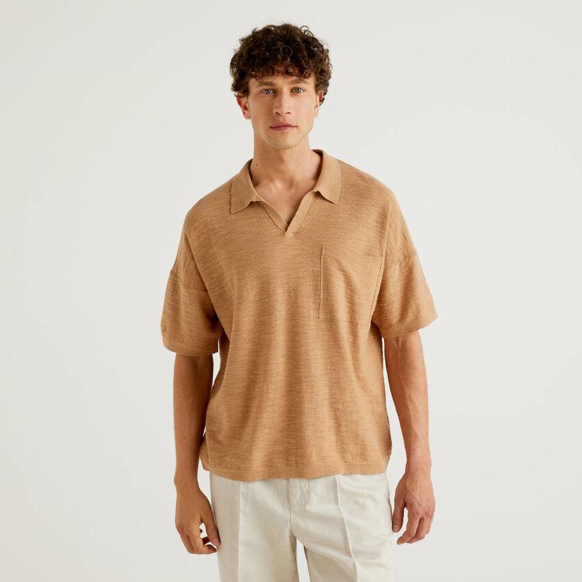 Polo in einer Mischung aus Baumwolle und Leinen