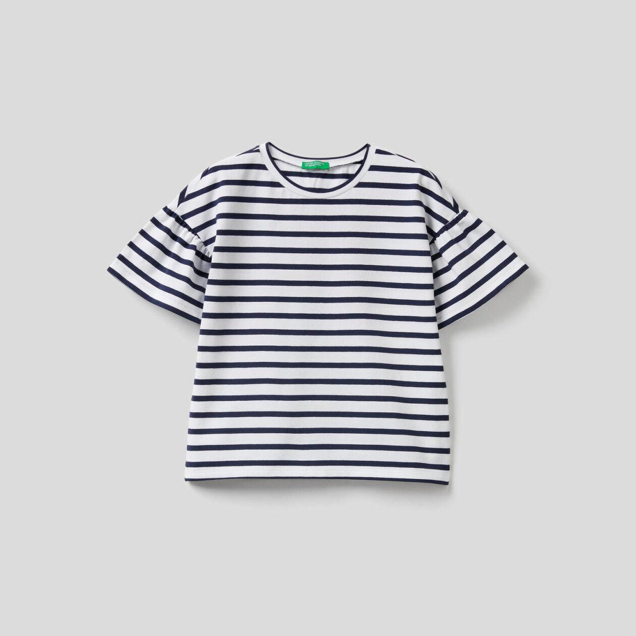 Gestreiftes T-Shirt mit Rundhals