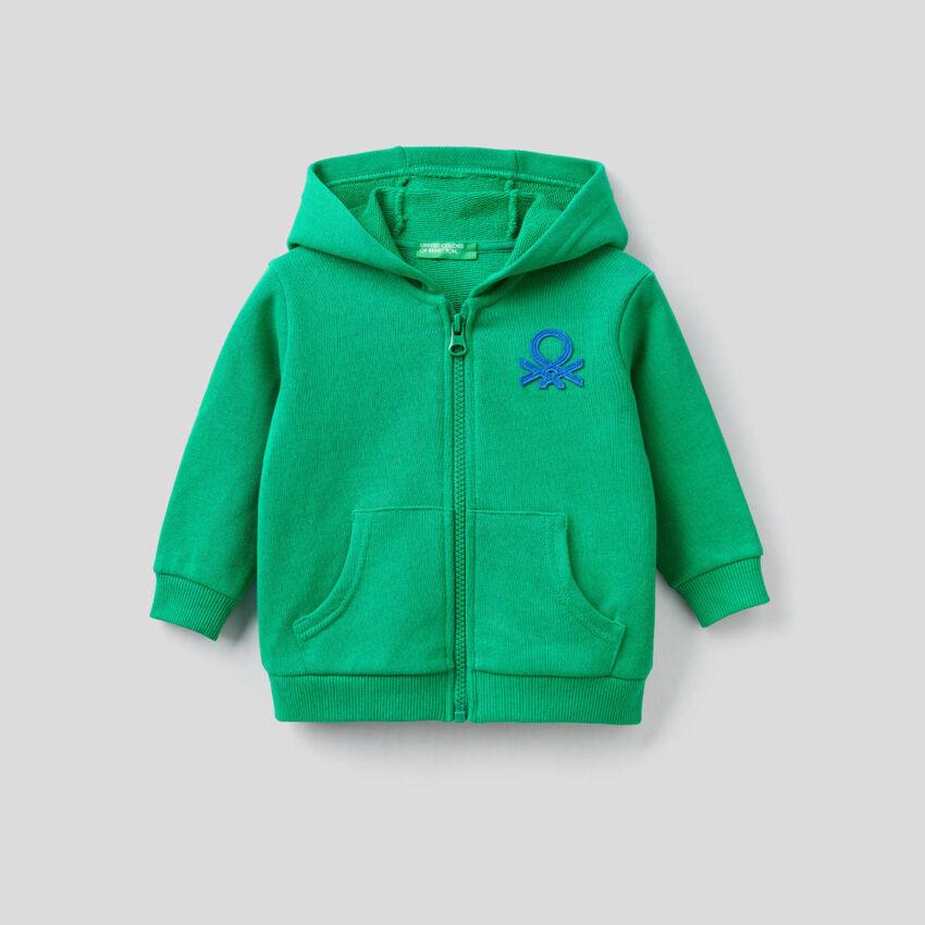 Sweatshirt aus Bio-Baumwolle mit Reißverschluss und Kapuze