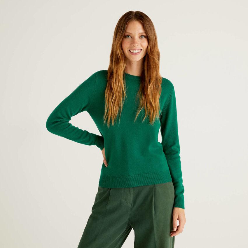 Dunkelgrüner Pullover aus reiner Schurwolle mit Rundausschnitt