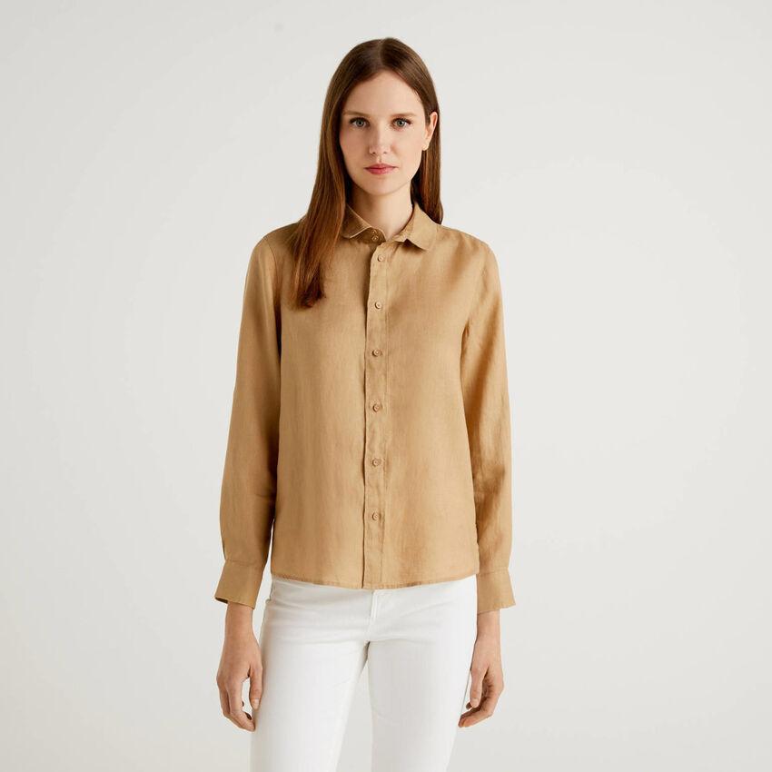 Langärmeliges Hemd aus reinem Leinen