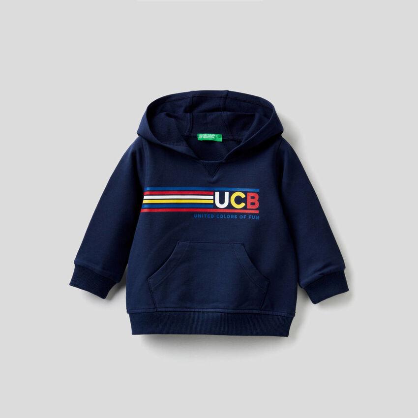 Sweatshirt aus stretchiger Baumwolle mit Kapuze