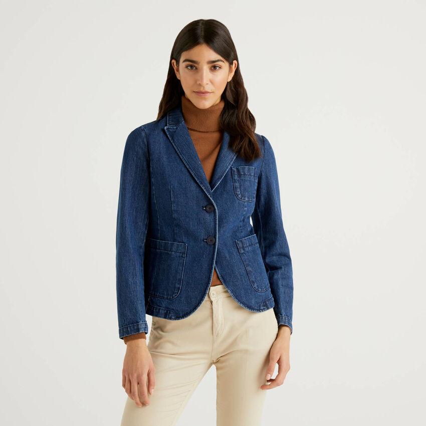 Taillierter Blazer aus Denim in Baumwolle