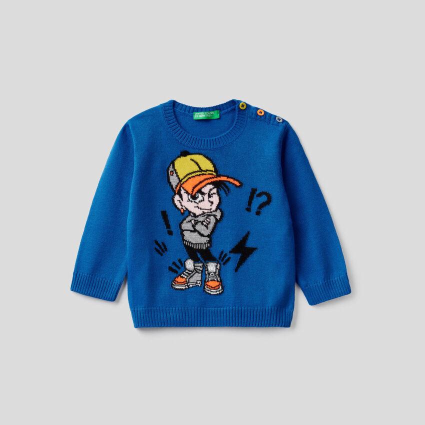 Pullover in Bluette mit Intarsienarbeit