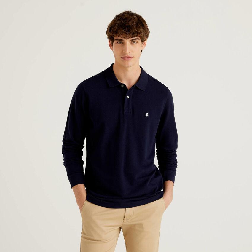 Langärmliges Polo aus 100% Baumwolle